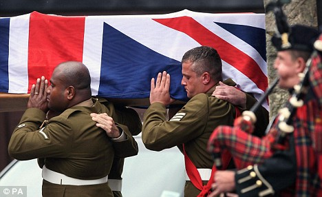 British soldier being returned home.